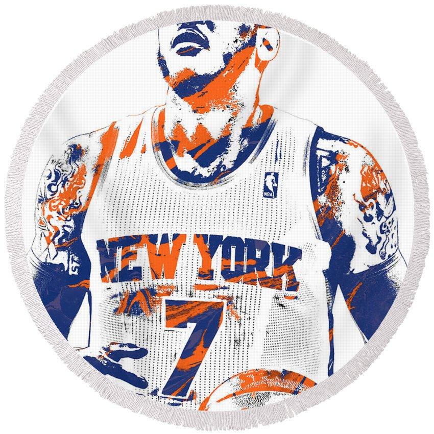 850x850 Carmelo Anthony New York Knicks Pixel Art Round Beach Towel