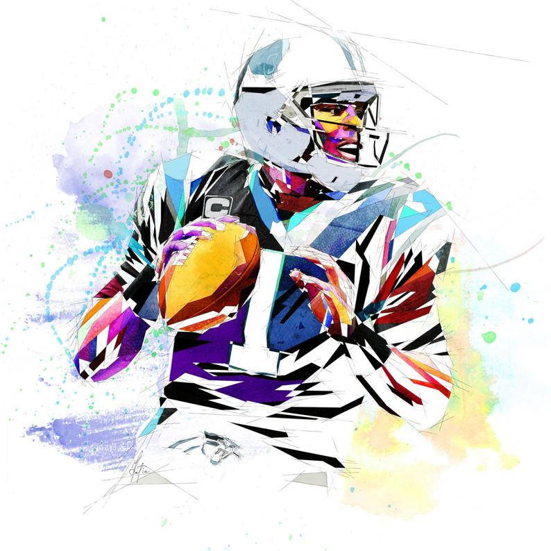 794x794 Canvas Print Cam Newton Football Art Carolina Panthers Etsy