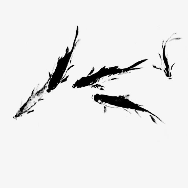 650x651 black ink painting carp play, ink, black, carp png image