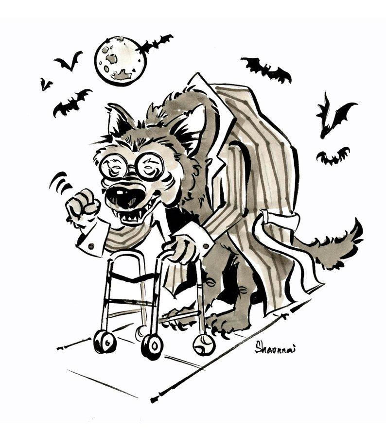 794x885 Grumpy Old Werewolf Drawing Etsy