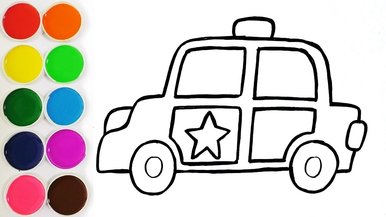 1280x720 Glitter Police Car Coloring Pages And Drawing For Kids, Toddlers