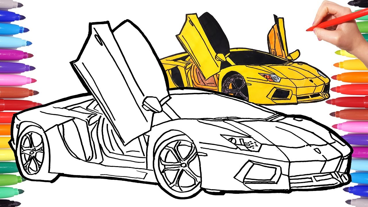 1280x720 How To Draw A Car Cars Coloring Pages Drawing Sport Cars How