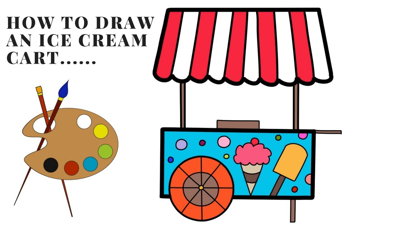 1280x720 how to draw ice cream cart coloring ice cream cart coloring