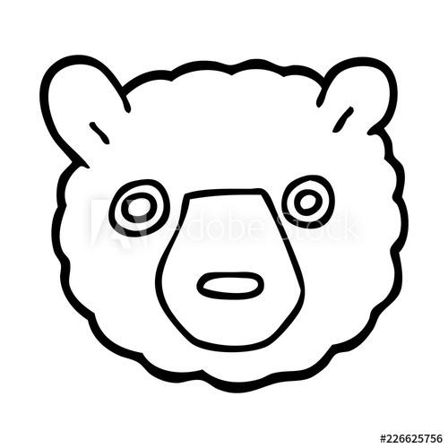500x500 Line Drawing Cartoon Bear Face
