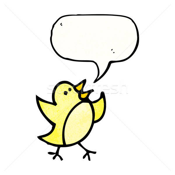 600x600 Cartoon Bird Drawing With Speech Bubble Vector Illustration
