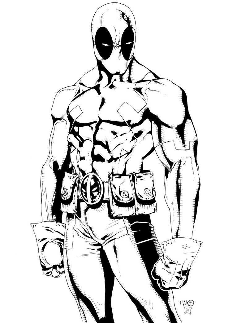 766x1042 Deadpool Drawing Colored For Free Download