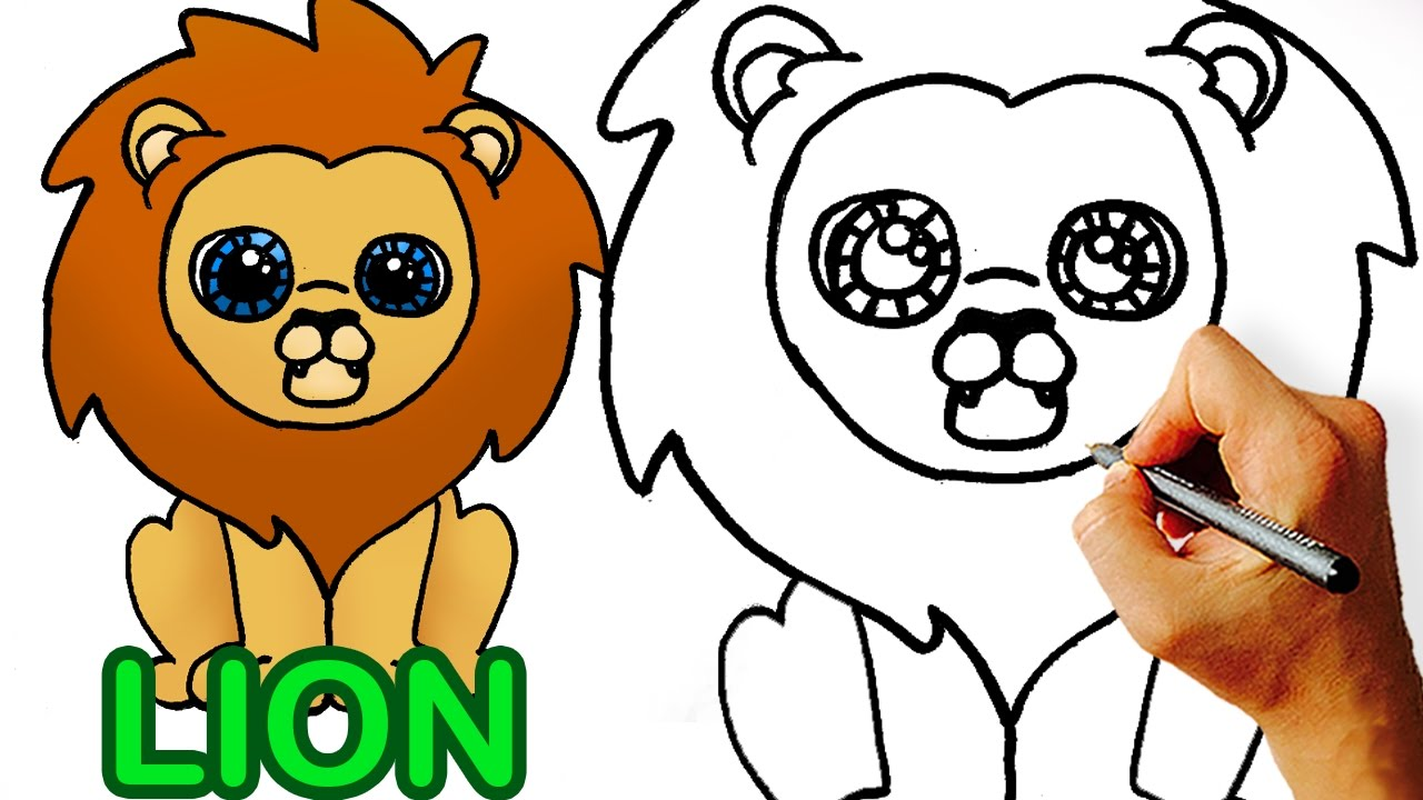 1280x720 Very Easy! How To Draw Cute Cartoon Lion Art For Kids!