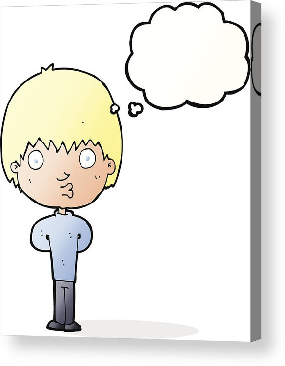 584x750 Cartoon Whistling Boy With Thought Bubble Acrylic Print