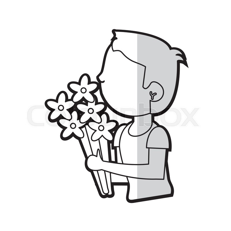 800x800 Cartoon Son Boy With Flowers Bunch Stock Vector Colourbox