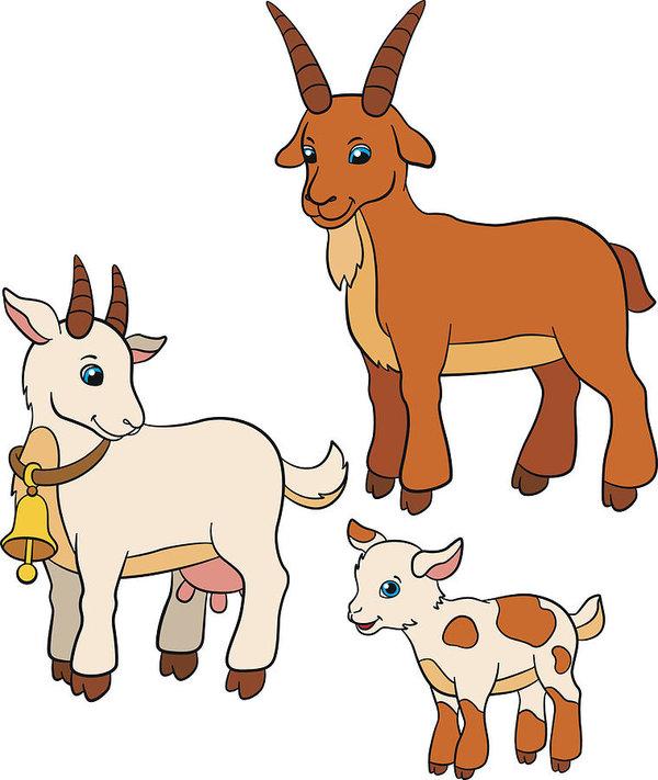 600x711 Cartoon Farm Animals For Kids Goat Family Art Print