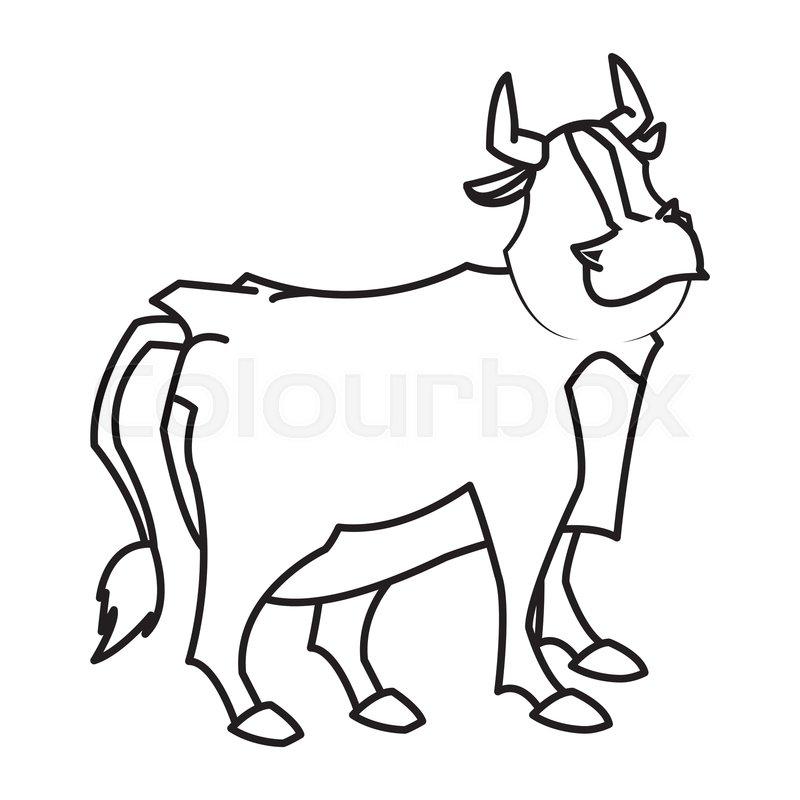 800x800 Cartoon Funny Bull Horn Farm Animal Stock Vector Colourbox