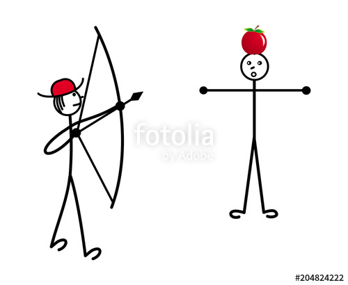 500x410 The Little Man In A Red Hat Shoots A Bow In The Apple On The Head