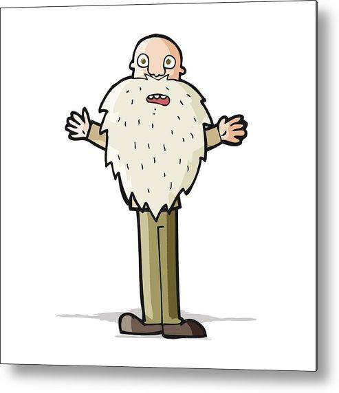 493x572 Cartoon Bearded Old Man Metal Print