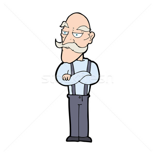600x600 Cartoon Bored Old Man Vector Illustration Lineartestpilot