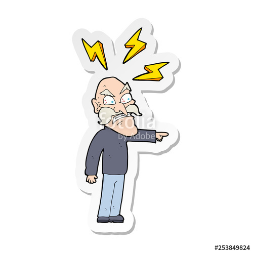 500x500 Sticker Of A Cartoon Angry Old Man Stock Image And Royalty Free