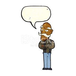 300x300 Cartoon Bored Old Man With Speech Bubble Stock Vectors