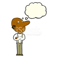 235x235 Cartoon Old Man With Folded Arms With Thought Bubble Stock Photos