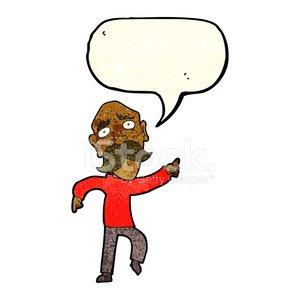 300x300 Cartoon Sad Old Man Pointing With Speech Bubble Stock Vectors