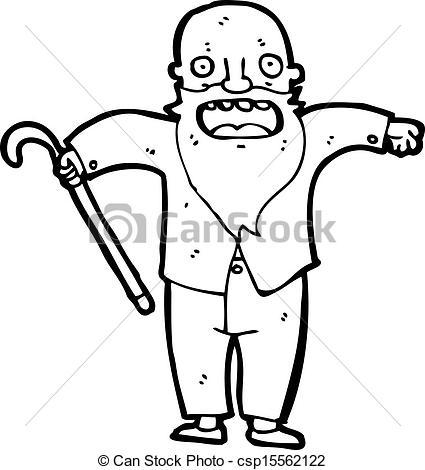 425x470 Cartoon Bearded Old Man Vector Illustration