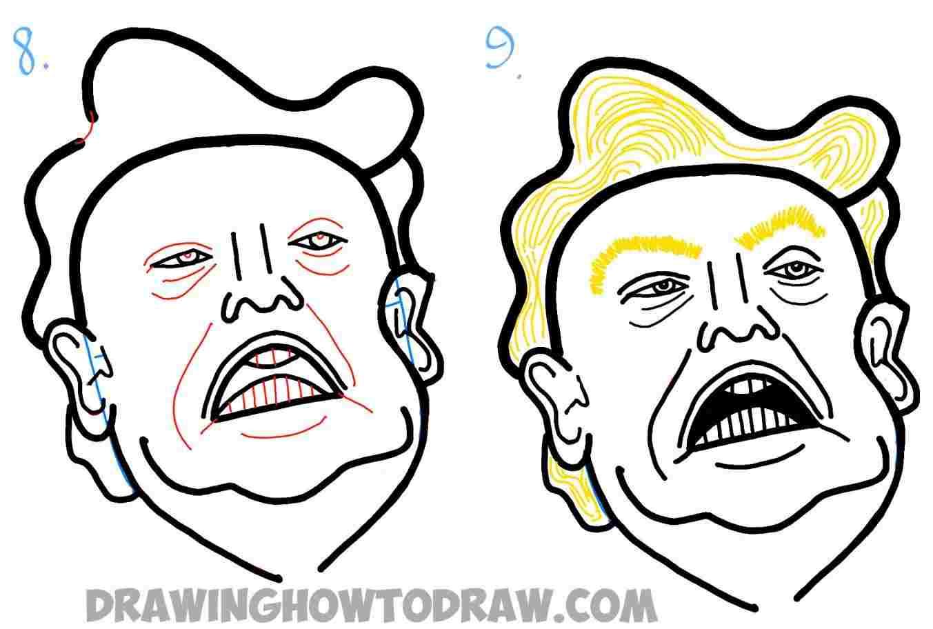 1353x912 how line drawing trump cartoon drawing to draw donald trump
