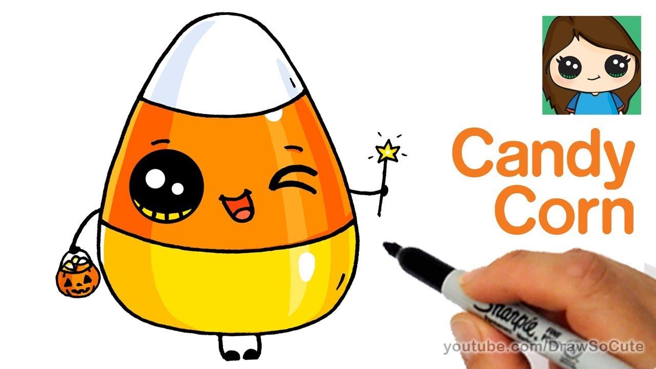 1280x720 How To Draw Cute Candy Corn Easy Cartoon Food