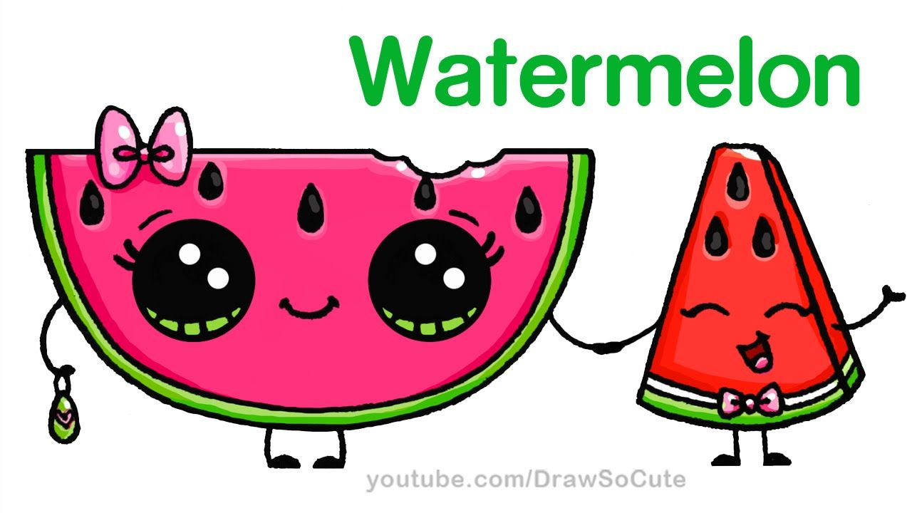 1280x720 How To Draw Watermelon Slice Cute Step