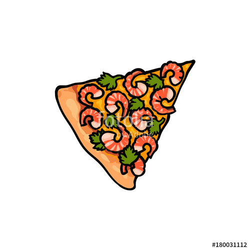 500x500 Vector Flat Pizza Slice With Seafood