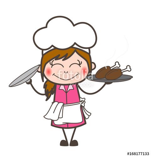 481x500 Cartoon Blushing Waitress Presenting Chicken Food Vector Stock