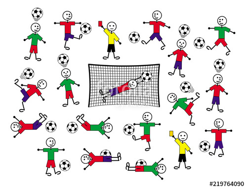 500x383 Composition Of Cartoon Drawings Of Players And Referees Football