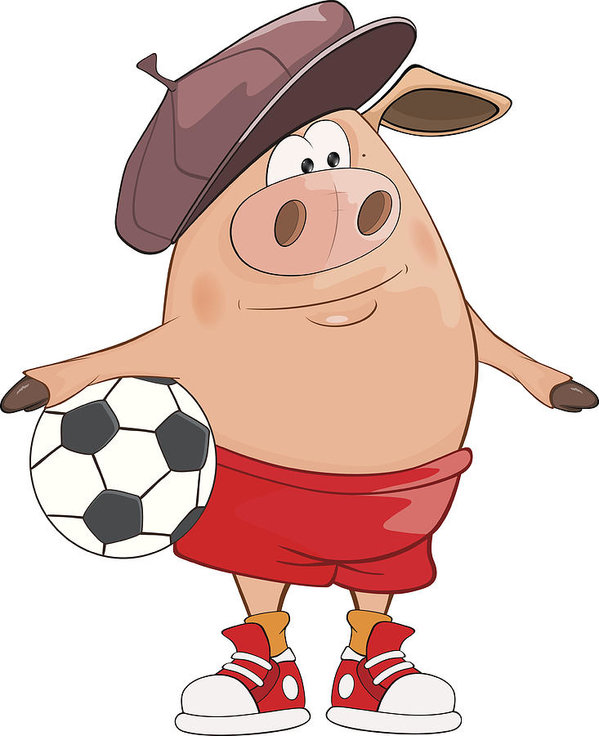 599x736 Illustration Of Cute Pig Footballer Cartoon Character Art Print