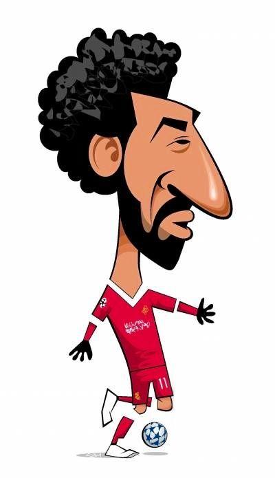 400x695 Mo Slah Cartoon Faces Caricature, Mohamed Salah
