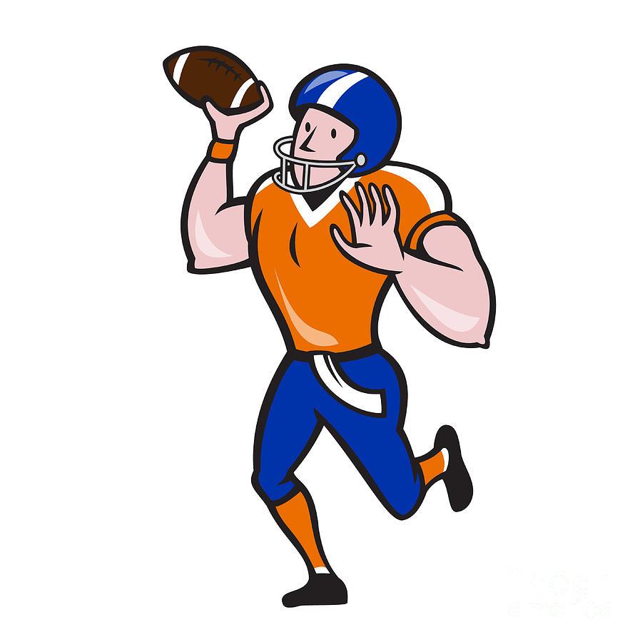 897x900 American Football Quarterback Throw Ball Isolated Cartoon Digital