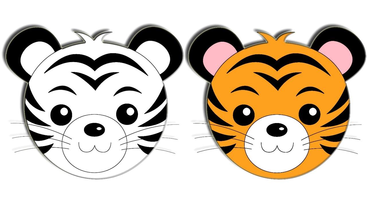 1280x720 Tiger Drawing Cartoon Face