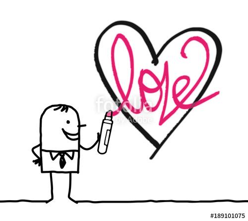 500x445 Cartoon Man Drawing A Sketchy Heart Stock Image And Royalty Free
