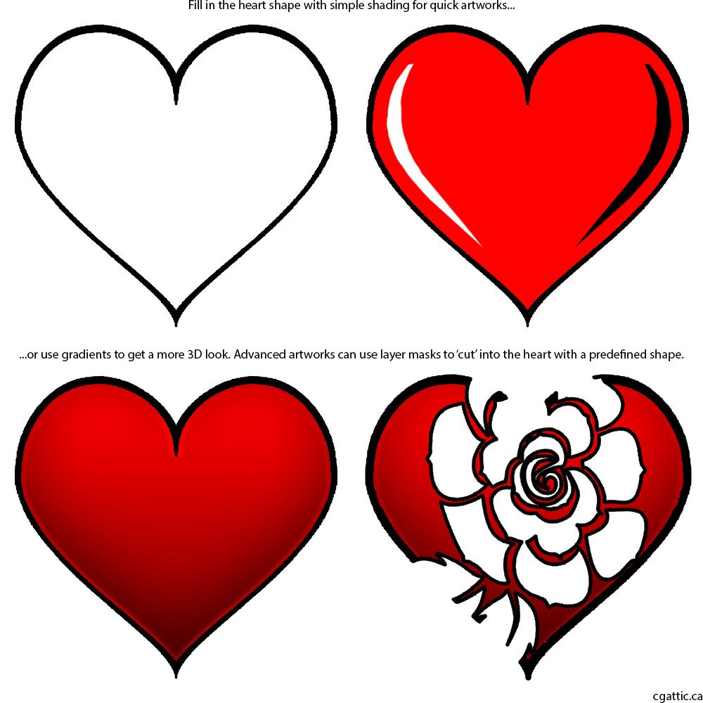 1000x1000 Heart Cartoon Drawing In Steps With Photoshop In Pencil