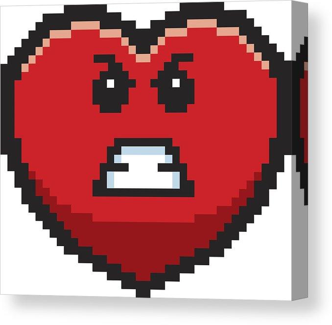 678x663 Angry Bit Cartoon Heart Canvas Print Canvas Art