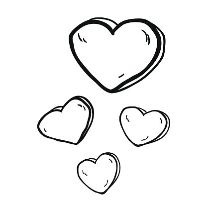 416x416 Simple Black And White Freehand Drawn Cartoon Hearts Stock Vectors