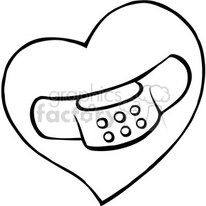300x300 Cartoon Black White Heart With Bandaid On It Clipart Royalty Free