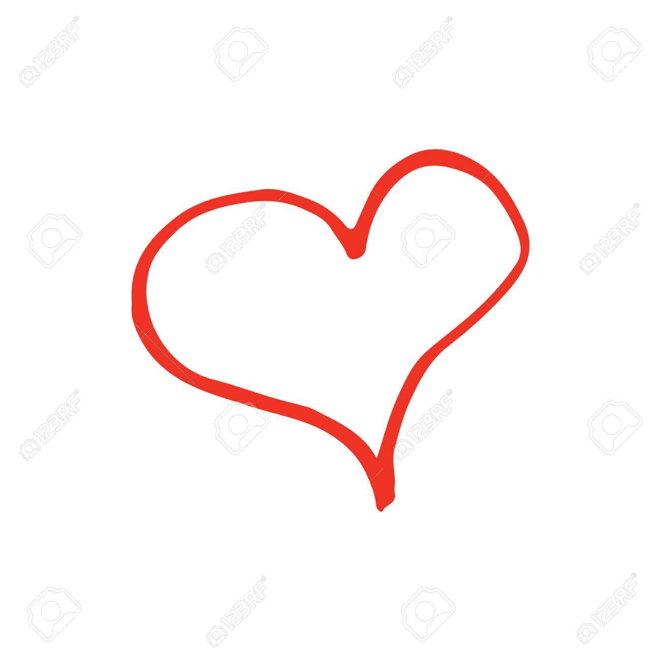 1300x1300 Cartoon Heart Outline Linear Cartoon Hand Drawn Heart