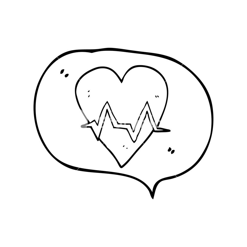 1000x1000 Freehand Drawn Speech Bubble Cartoon Heart Rate Pulse Symbol