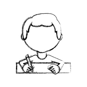 300x300 Cartoon Man With Drawing Utensils Over White Background Vector