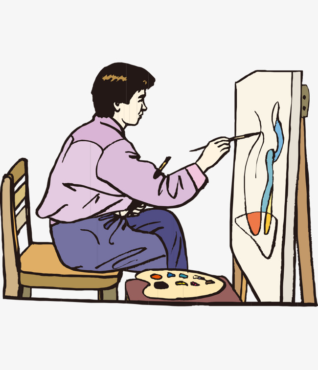 650x757 Cartoon Man Painting Freehand Drawing Board Chair, Man Clipart