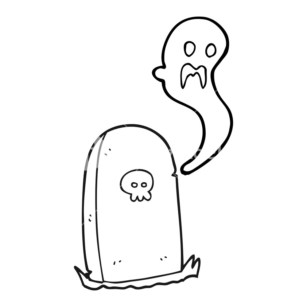 1000x1000 Freehand Drawn Black And White Cartoon Ghost Rising From Grave
