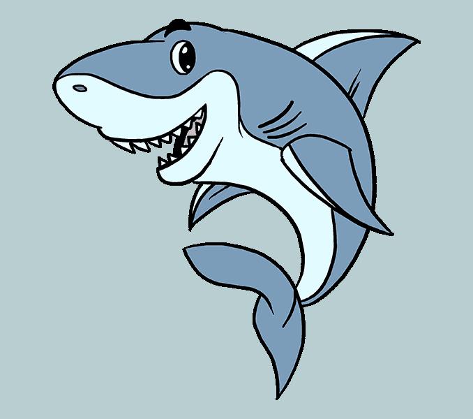 678x600 How To Draw A Cartoon Shark Easy Step