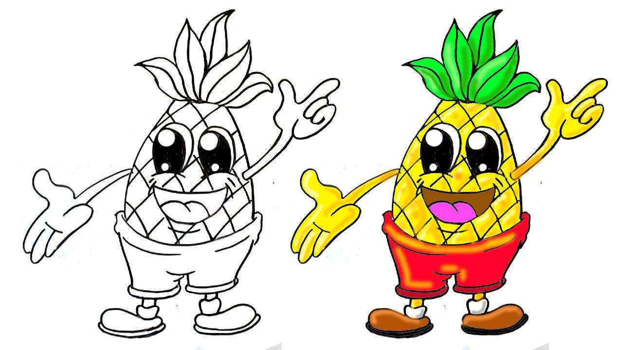 Cartoon Pineapple Drawing Free Download Best Cartoon Pineapple