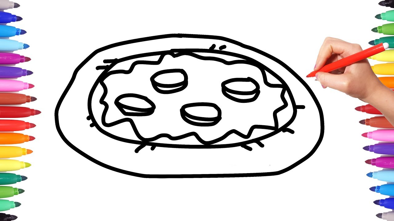 1280x720 How To Draw A Pizza With Pepperoni Coloring Pages For Kids