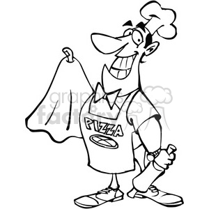 300x300 Cartoon Pizza Maker In Black And White Clipart Royalty Free