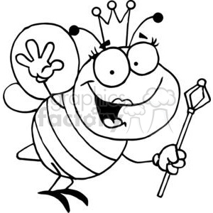 300x300 Queen Bee With Crown Holding A Wand Waving Clipart Royalty Free