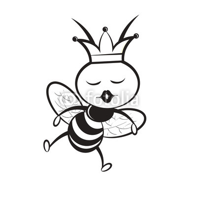 400x400 Black And White Queen Bee Vector Cartoon Isolated On White