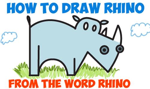 500x298 how to draw a cartoon rhino from the word rhino